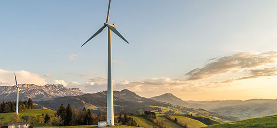 A wind power plant in the municipality of Entlebuch.