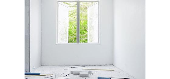 The image shows a flat that is being renovated.