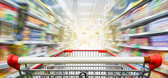 The image shows a shopping trolley in a supermarket.